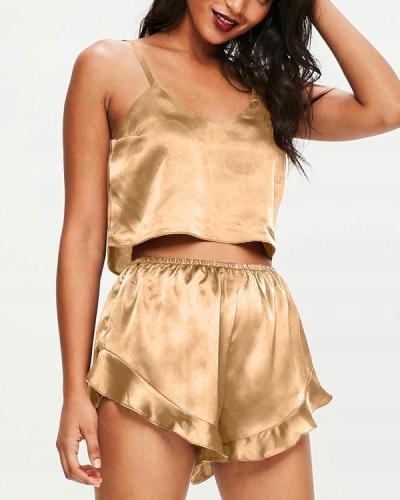 Satin Cami Frill Short Pyjama Set