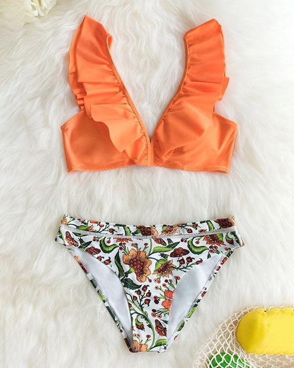 Ruffled Orange Bikini With Floral Bottom
