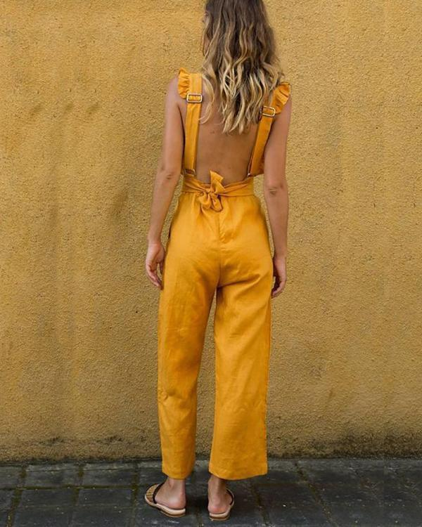 Ruffled Backless Sexy Linen Plus Size Jumpsuit