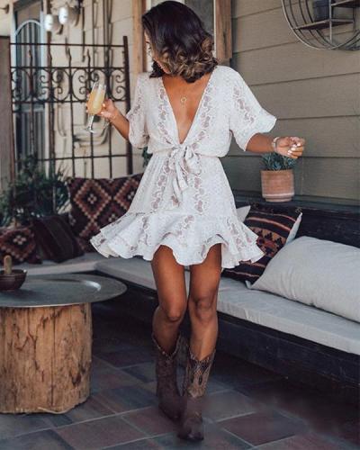 Ruffled Deep-V-neck Print Lace Up Mini Dress
