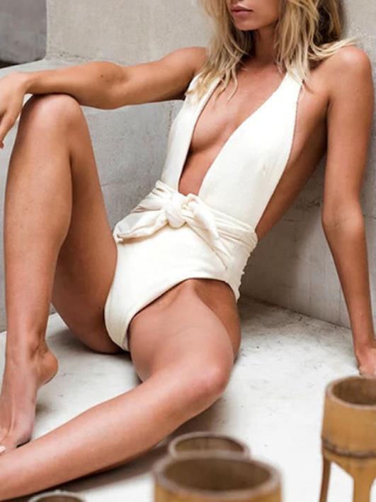 Sexy Backless Striped Bikini Swimsuit