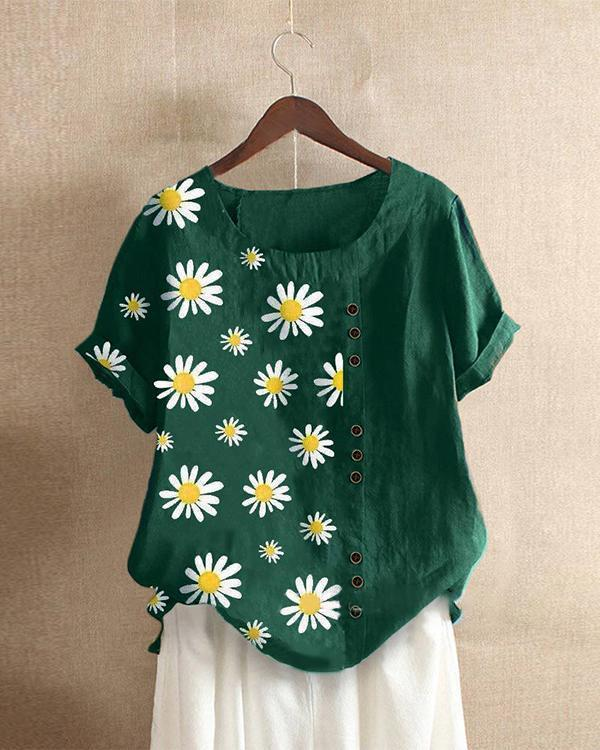 Print Flower Casual Crew Neck Plant Shirts & Tops