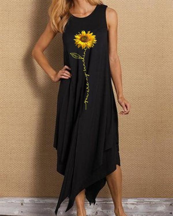 Sleeveless Sunflower Print Irregular Hem Holiday Midi Dress