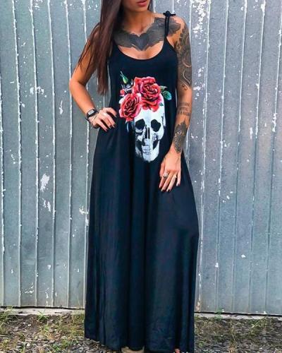 Skull Print Spaghetti-Strap Sexy Long Dress