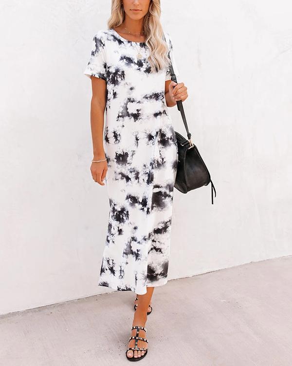 Women Tie Dye Knit Midi Dress