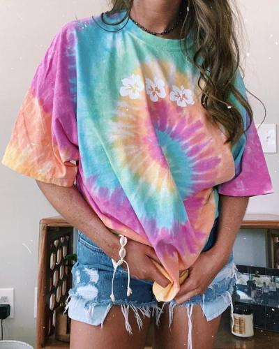 Short Sleeve Flower Tie Dye Tee Shirt