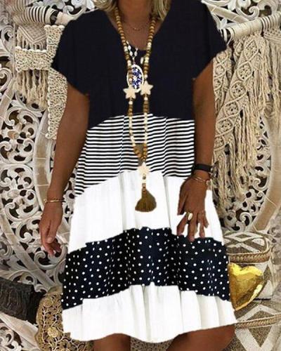 Short Sleeve V-neck Striped Printed Dress