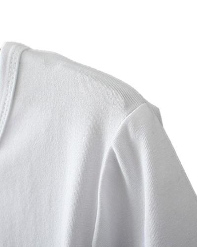 Printed Holiday Basic Casual Long T-Shirt