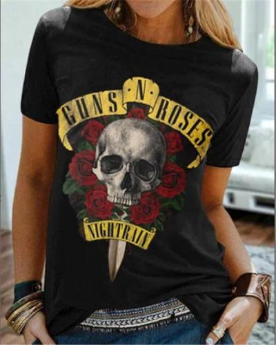 Short Sleeve  Skull Print Shirts & Tops
