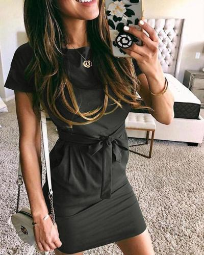 Solid Color Short Sleeve Slim Fit Dress