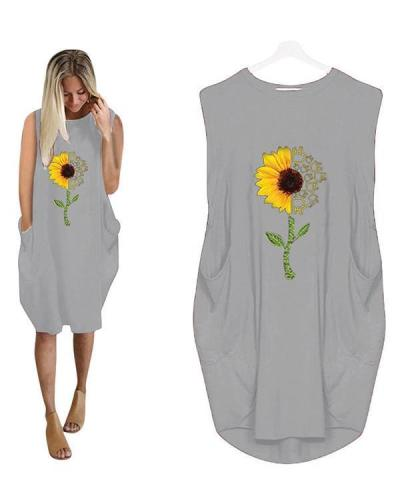 Sumflower Printing Oversized Long T-Shirt Sleeveless Midi Dress With Pockets