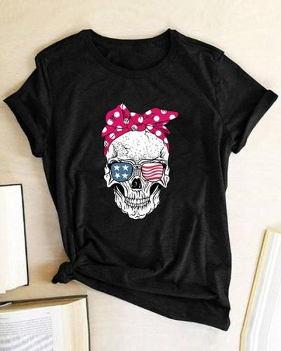 Skull Women Printed Daily T Shirt Tee