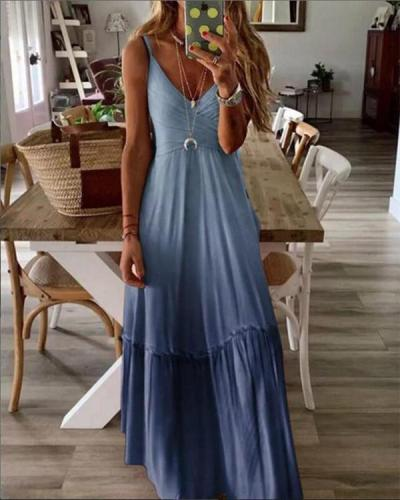 Sleeveless V Neck Beach Holiday Daily Fashion Maxi Dresses