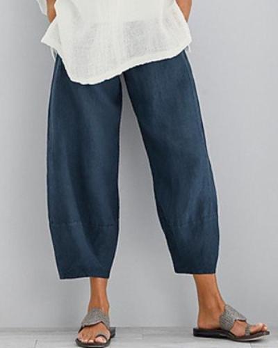 Solid Casual Elastic Waist Wide Leg Pants