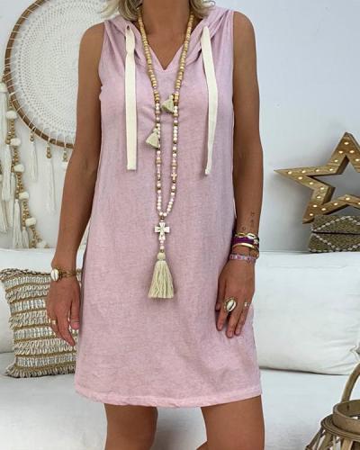 Sleeveless Cotton-Blend Hoodie Casual Sport Mini Dresses