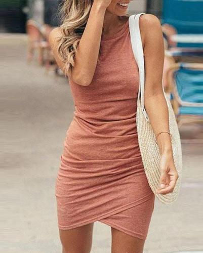 Sleeveless Solid Color Round Collar Casual Wear Dress