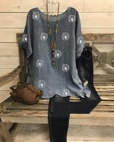 Summer Casual Printed Short Sleeve Big Round Neck Loose Shirt Top