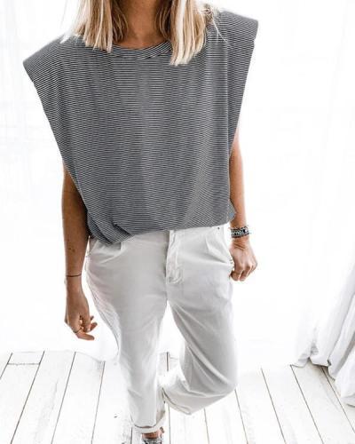 Padded Shoulder Stripe Sleeveless T-shirt