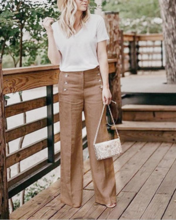 Solid Color High Waist Casual Button Wide Leg Pants
