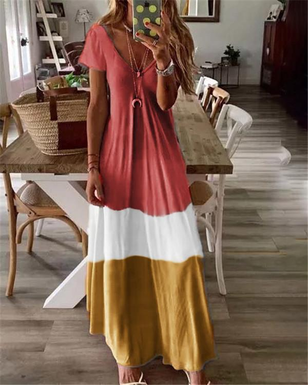 Summer Short Sleeve Bohemian Holiday Daily Fashion Maxi Dresses