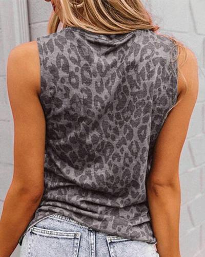 Leopard Lip Printed Sleeveless T-shirts