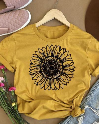 Trendy Sunflower O-Neck T-Shirt Tee