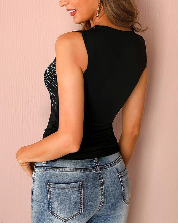 Studded Multi-Strap Casual Blouse Tank Tops