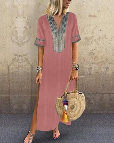 V neck Shift Women Daily Statement Half Sleeve Slit Solid Summer Dress