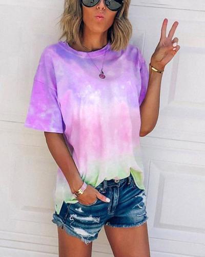 Tie-dye gradient rainbow T-shirt