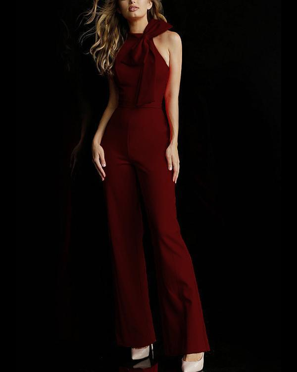 Sleeveless High Neck Jumpsuit With Bow Detail