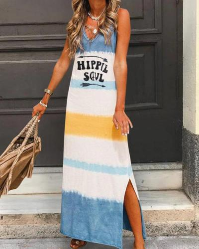 V Neck Casual Sleeveless Gradient Maxi Dresses