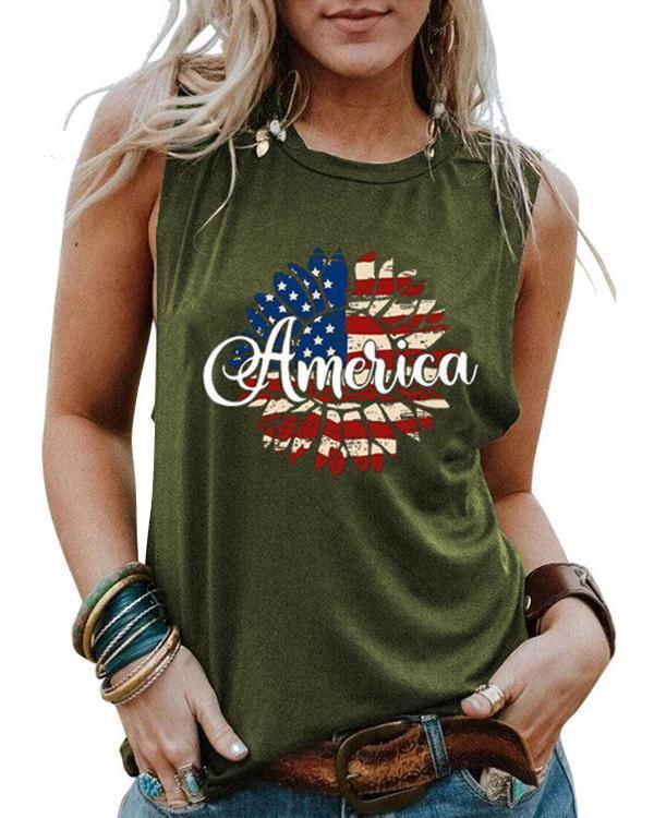 Sunflower Flag America Printed Sports Vests