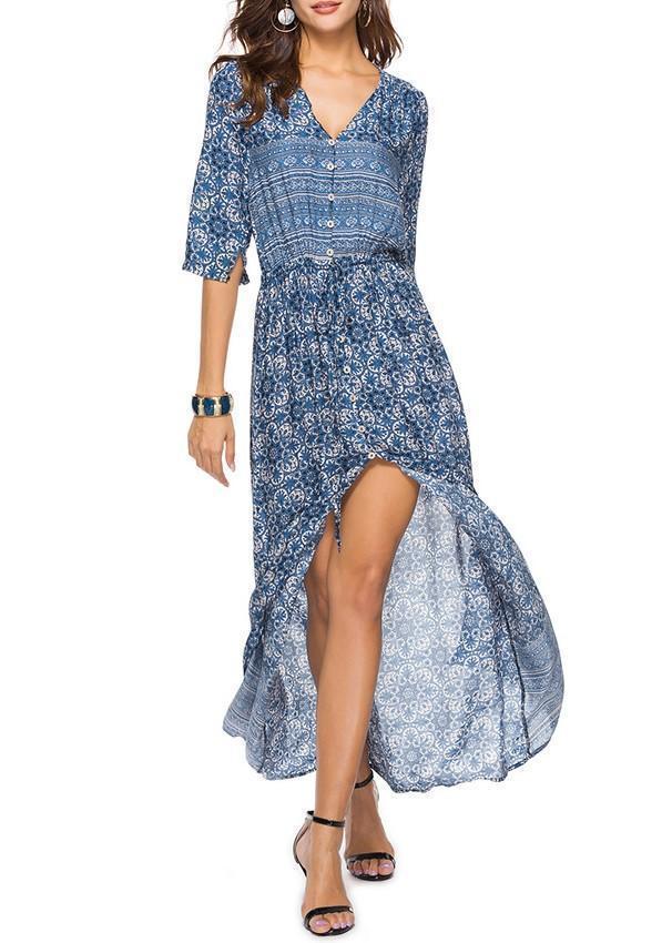 Pretty Chiffon Bohemia Floral 3/4 Sleeve V Neck Maxi Dress