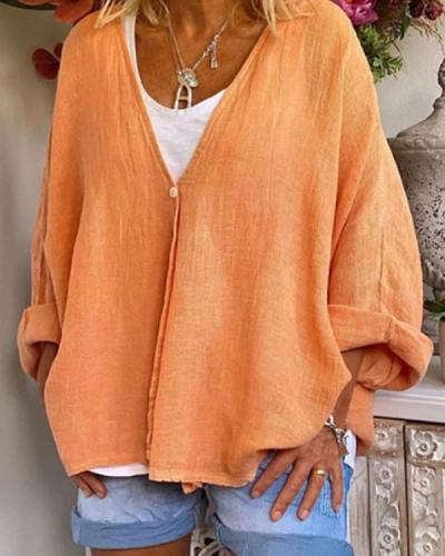 Solid Color Single Breasted Long Sleeve Top