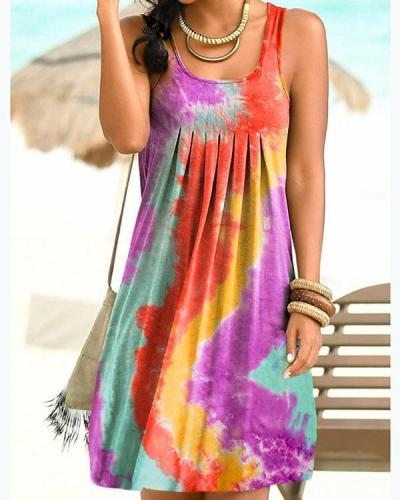 Sleeveless Holiday Gradient Print Paneled Pleated Mini Dress