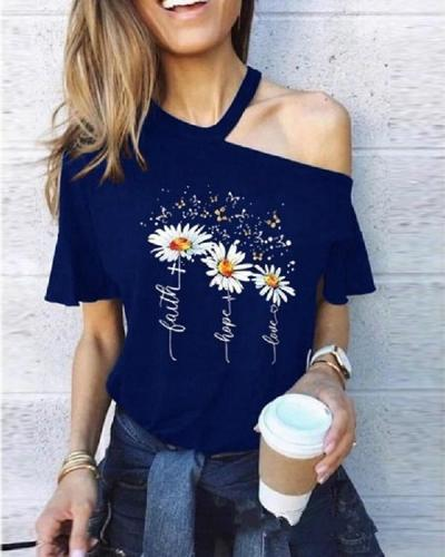Cut Out Short Sleeve Print T-Shirt