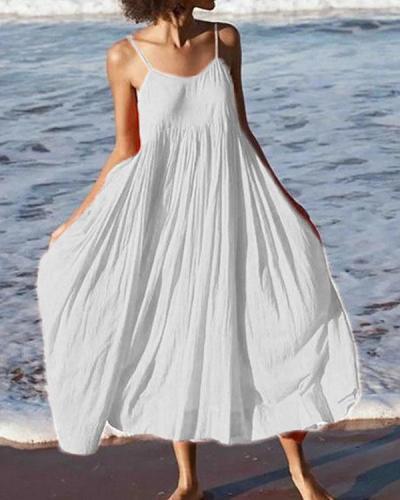 Women Summer Swing Spaghetti Cotton Holiday Boho Maxi Dresses
