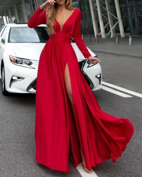 V-Neck Solid Color Long Sleevethe Sides Split Maxi Dress