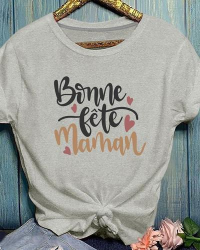 Summer Short Sleeve Letter Print Cotton T-shirt
