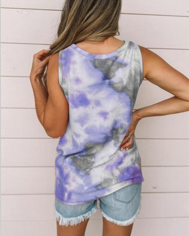 Women's Round Neck Tie-dye Knotted Printed Vest T-shirt