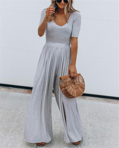 Solid Color Short Sleeve Wide Leg Jumpsuit