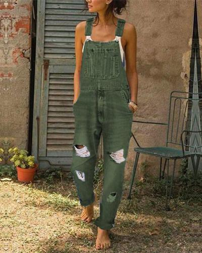 Women's Casual Jeans Denim Rompers Sleeveless Overalls Jumpsuit