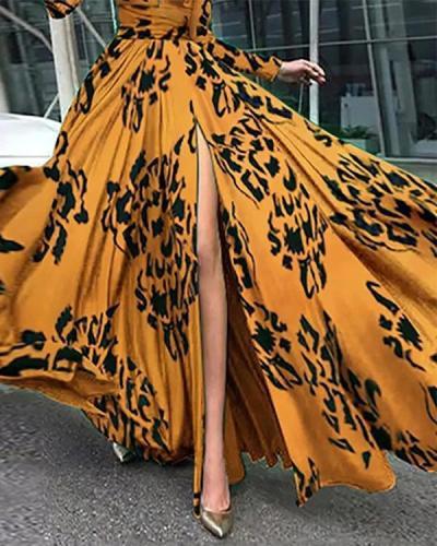 Printed Graphic Slit Evening Elegant Maxi Dress