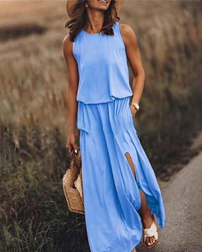 Solid Sleeveless Round Neck Holiday Daily Fashion Maxi Dresses