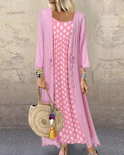 Polka Dot Crew Neck Holiday Daily Fashion Maxi Dresses