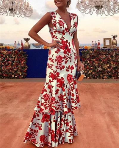 Sexy Sleeveless Deep V Neck Printed Maxi Dress