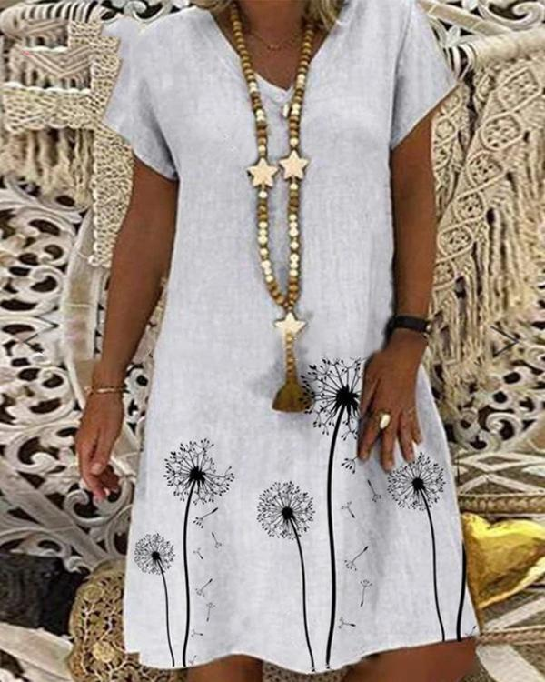 Casual Printed V-neck Short Sleeve Midi Dress