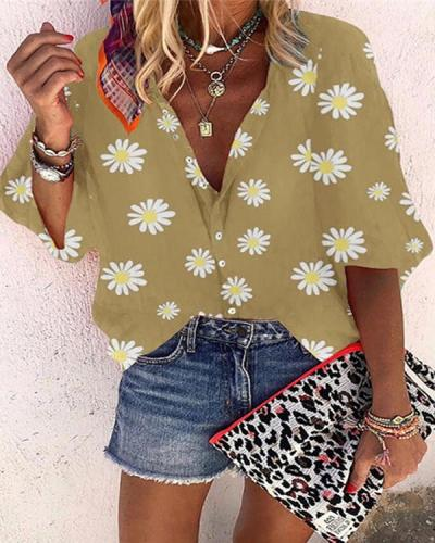 Women Daisy Printed Shirt Boho Causal  Blouse