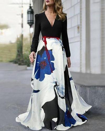 V-Neck Belt Floral Printed Maxi Dress