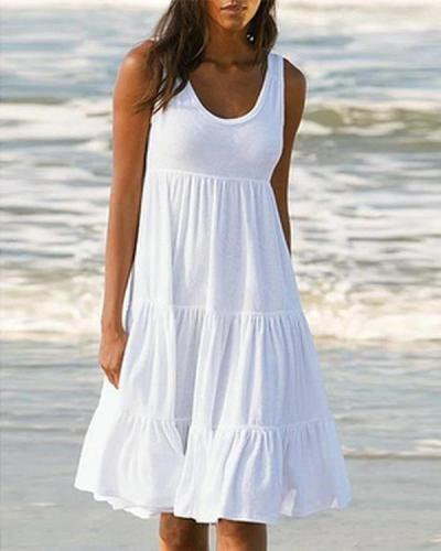 Solid Sleeveless Beach Midi Dress